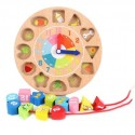Wooden Blocks Digital Geometry Clock Kids Early Education Puzzle Set Matching Games Toys - Threading Type