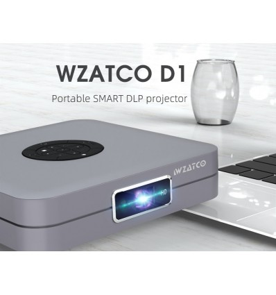 WZATCO D1Basic Silver DLP Projector 300inch Home Cinema support Full HD 1920x1080P,32GB Android 5G WIFI AC3 Video MINI Projector