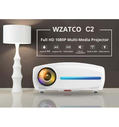 C2 add OS 64G WZATCO C2 4K Full HD 1080P LED Android 9.0 Wifi Smart Home Theater AC3 200inch Video Projector