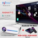 C2 add OS 32G WZATCO C2 4K Full HD 1080P LED Android 9.0 Wifi Smart Home Theater AC3 200inch Video Projector