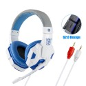 White Blue without lights Professional Gaming Headphones for Computer PS4 Adjustable Bass Stereo PC Gamer Wired Headset