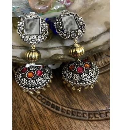 Oxidised dual tone mirror jhumki Party/Function for Women and Girls