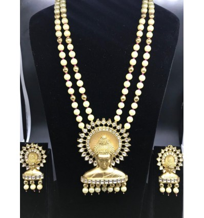 Temple Jewellery in Pearls Long Necklace Set Party/Function for Women and Girls