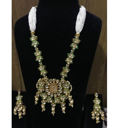 Kundan and Pearl Golden and White Multilayer Necklace for Women/Girls