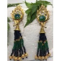 Peacock earrings blue and green