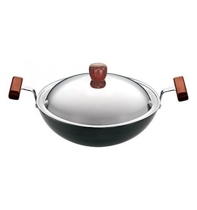 Hawkins/Futura L19 Hard Anodised Deep Fry Pan Rounded Kadai with Stainless Steel Lid, 1.5-Liter