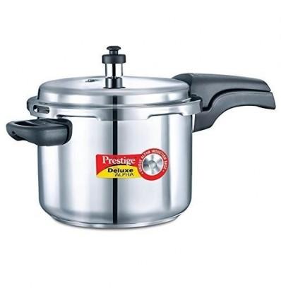 Prestige 6.5L Alpha Deluxe Induction Base Stainless Steel Pressure Cooker, 6.5-Liter