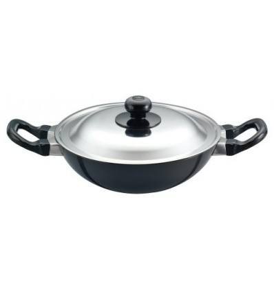 Hawkins Futura Non-Stick Deep-Fry Pan (Kadhai) With Stainless Steel Lid22Cm Black
