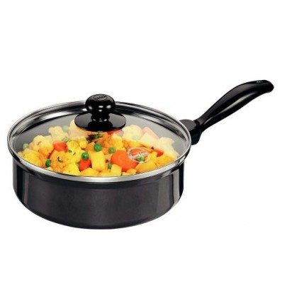 Hawkins Futura Non-Stick Saute' Curry Pan With Glass Lid, 2 Litres Black