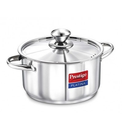 Prestige Platina Induction Base Stainless Steel Casserole, 180mm/2 Litres, Me...