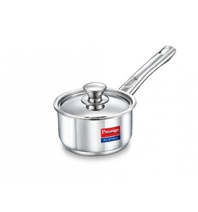 Prestige Platina Induction Base Stainless Steel Sauce Pan, 180mm/2 Litres, Me...