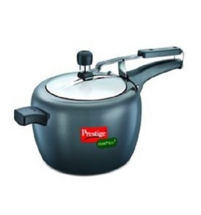 Prestige Hard-Anodized Aluminium Apple Duo Plus Pressure Cooker, 5 Litres, Grey