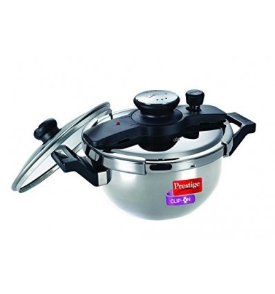 Prestige Clip On Stainless Steel Kadai Pressure Cooker with Glass Lid Accesso...