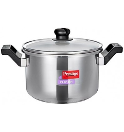 Prestige Clip On Aluminium Pressure Cooker, 5 Litres, Metallic Steel