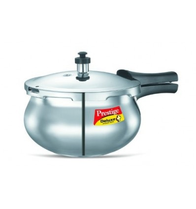 Prestige PRDAH2 Deluxe Plus 2-Liter New Flat Base Aluminum Pressure Handi for Gas and Induction Stove, 2-Liter, Small, Silver